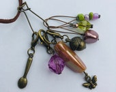 Stitch Marker Necklace - Antique Bronze, Bees, Acorn and Spoon - Markers for knitting and crochet