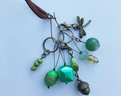 Stitch Marker Necklace - Antique Bronze, Green, Dragonfly and Acorn - Markers for knitting and crochet