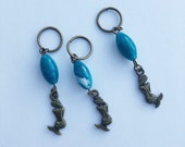 Set of 3 Stitch Markers - Mermaids - Antique Bronze and Blue, for knitting or crochet