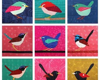 Wren Bird Quilt Pattern Bundle Foundation Paper Pieced 6 inch 12 inch