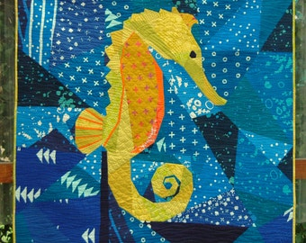 Treasure of the Sea 50 Inch Foundation Paper Pieced Seahorse Quilt Pattern