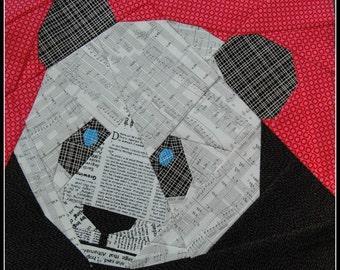 Panda Bear 12 Inch Foundation Paper Pieced Quilt Pattern