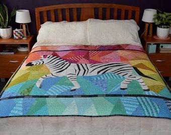 Running Zebra Foundation Paper Pieced Quilt Pattern