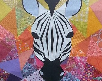 Mega Zebra Mania 40 Inch Foundation Paper Pieced Quilt Pattern