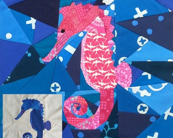 Small Seahorse Foundation Paper Pieced Quilt Pattern 14 inch
