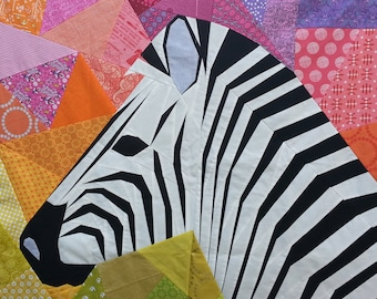 40 Inch Mega Zebra in Profile Foundation Paper Pieced Quilt Pattern