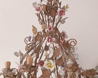 NEW! Large tole chandelier w porcelain Roses antique vintage florentine 50' Empire Capodimonte french light nordic style 8bulb