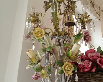 Set of chandelier and sconces, tole roses porcelain, florentine venetian chandelier, pastel colors, flower shabby chic