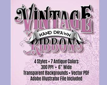 Vintage Ribbons Clip Art, Hand Drawn, 300 DPI, Vector PDF & PNGs With Transparent Backgrounds, 34 Files, Adobe Illustrator AI File Included