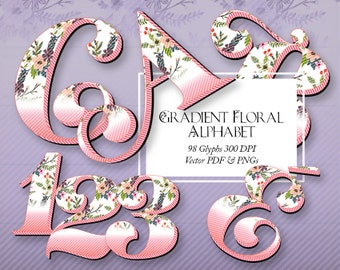 """Beautiful Floral Alphabet. 150 DPI, 4"""" PNGs with Transparent Background, Scalable Vector PDF, Clip Art, Latin Glyphs"""