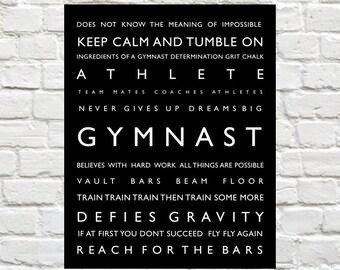 Gymnastics - Sports Decor, Personalized Prints, Sports Typography, Sports Art, Gymnastics, Kids Wall Art, Kids Wall Decor, Gymnast Print