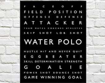 Water Polo - Personalized Prints, Sports Decor, Typography, Wall Art, Youth Sports Decor, Sports Typography, Personalized Water Polo