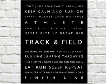Track and Field - Personalized with Athletes Name - Typography Wall Decor