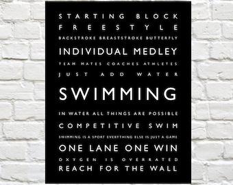 Swimming - Personalized Prints, Sports Decor, Modern Playroom Prints, Kids Sports Decor, Typography, Sports Art, Swimming Wall Art, Swimming