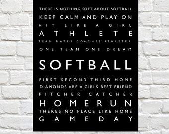 Softball - Sports Decor -  Personalized Prints, Modern Playroom Prints, Kids Sports Art, Sports Typography, Coach Gift, Girls Wall Art