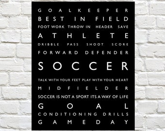 Soccer - Personalized, Soccer Wall Art, Soccer Print, Soccer Wall Decor, Typography, Sports Kids Art, Soccer Poster, Sports Decor, Soccer