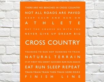 Cross Country - Personalized, Sports Decor, Sports Art, Coach Gift, Typography, Kids Sports Decor, Kids Wall Art, Runner Wall Art