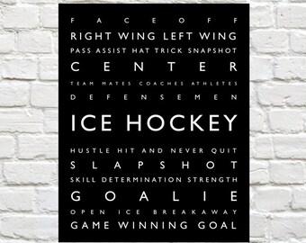 Ice Hockey - Sports Decor - Personalized Prints, Modern Playroom Prints, Sports Wall Art, Typography, Sports Nursery, Hockey, Boys Wall Art