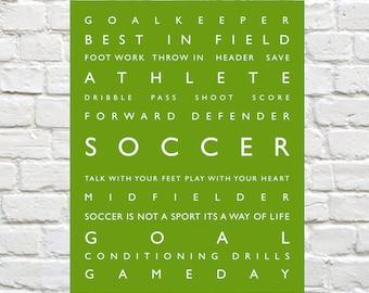 Soccer - Personalized, Soccer Wall Art, Kids Wall Art, Kids Wall Decor, Typography, Sports Kids Art, Sports Nursery, Sports Decor, Soccer