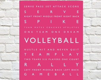 Volleyball Print - Sports Decor - Personalized Prints, Sports Art, Typography Print, Sports Wall Art, Personalized - Sports Typography