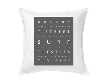 San Clemente Surf Pillow - Beach Decor - 20 x 20 Typography Pillow, Beach Pillow, Beach, Coastal Decor - Removable Cover With Down Insert