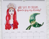 "2020 Wall Calendar 17""x8.5""- Illustrated Fashion Illustration Calendar, Fashion Wall Calendar, Fashion Sketches Art Calendar,"