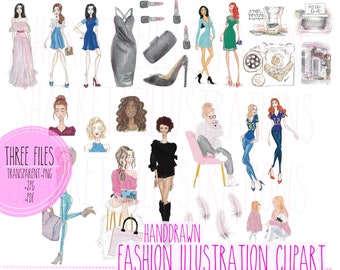 Clip Art - fashion illustration planner clip art stickers - transparent background - .png, .jpg, .pdf sticker files