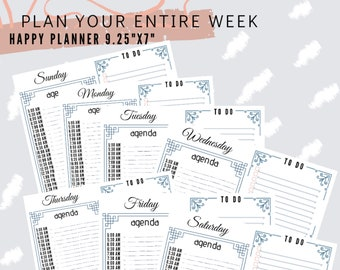 """Undated Weekly Agenda To Do List High Priority Planner Pages Happy Planner Classic 7""""x9.25"""""""