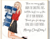 Thank you - Christmas - Friendship BFF - Thank you Card
