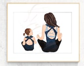 Original mommy and Me Fashion Illustration Print - Custom Original mother daughter Fashion Illustration work out yoga Pilates mommy and me
