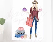Fall Pumpkin Autumn Fashion Illustration original Print - Fashion Print - Fashion Illustration - sweater Fashion - Home Decor fashion sketch