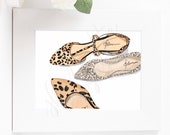 Custom Leopard Animal Print Shoe Illustration - bathroom or home decor