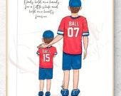 Original Daddy and Me Fashion Illustration Print - Custom Original father and son baseball Fashion Illustration Father's Day gift dad and me