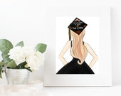 Graduation Gift- Class of 2019 Graduation Commencement - Fashion Illustration original Print - Fashion Print Fashion Illustration Home Decor
