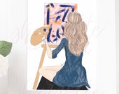 Original Artist Painter Crafter Girl Fashion Illustration Print - Custom Illustration - Original Fashion Sketch - Fashion Illustration Print