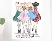 Tea Dresses Sisters Friends Fashion Sketch Illustration Original Print - Fashion Print - Fashion Illustration - Home Decor - fashion sketch