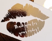 Rose Gold Foil Lip Thank you for your order Lipsense Thank you for your purchase card, Foiled Thank you order card. thank you purchase card.