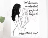 Mothers Day Print - Mothers Day Gift - Mother and Baby
