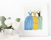 Princess dress Fashion Illustration original Print - Cinderella, Anna, Belle - Fashion Illustration - Girly Fashion - Home Decor - fashion