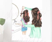Original mommy and Me Fashion Illustration Print - Custom Original mother daughter Fashion Illustrat