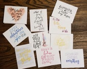 Greeting cards  - Modern Brush Design set - 10 Unique inspirational saying cards - envelopes included