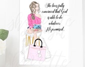 Custom Fashion Illustration Devotional Journal Girl