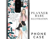 Planner Babe Fashion Illustration Cell Phone Case  - Original Fashion Sketch Bossbabe Art iPhone or Samsung Galaxy Phone Case