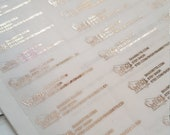 "Clear Stickers .5"" x 1.75"" Labels rose Gold Foil address logo shop stickers Foiled stickers foil Lips foiled lips"