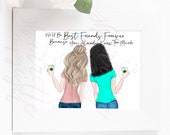 Custom best friend card - custom fashion illustration - bridesmaid gift best friends gift birthday coffee