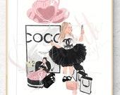 Original Chanel balloon Fashion Illustration Print - Chanel Custom Illustration -- Coco Chanel Office Bathroom Print Decor Fashion Print