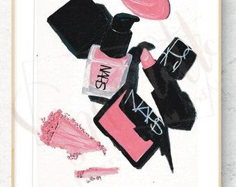 NARS Make Up Fashion Illustration Digital Print Download of Acrylic Painting