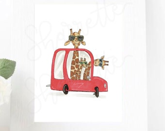 Animals in Cars - children's digital art download for decor or stickers - hand drawn