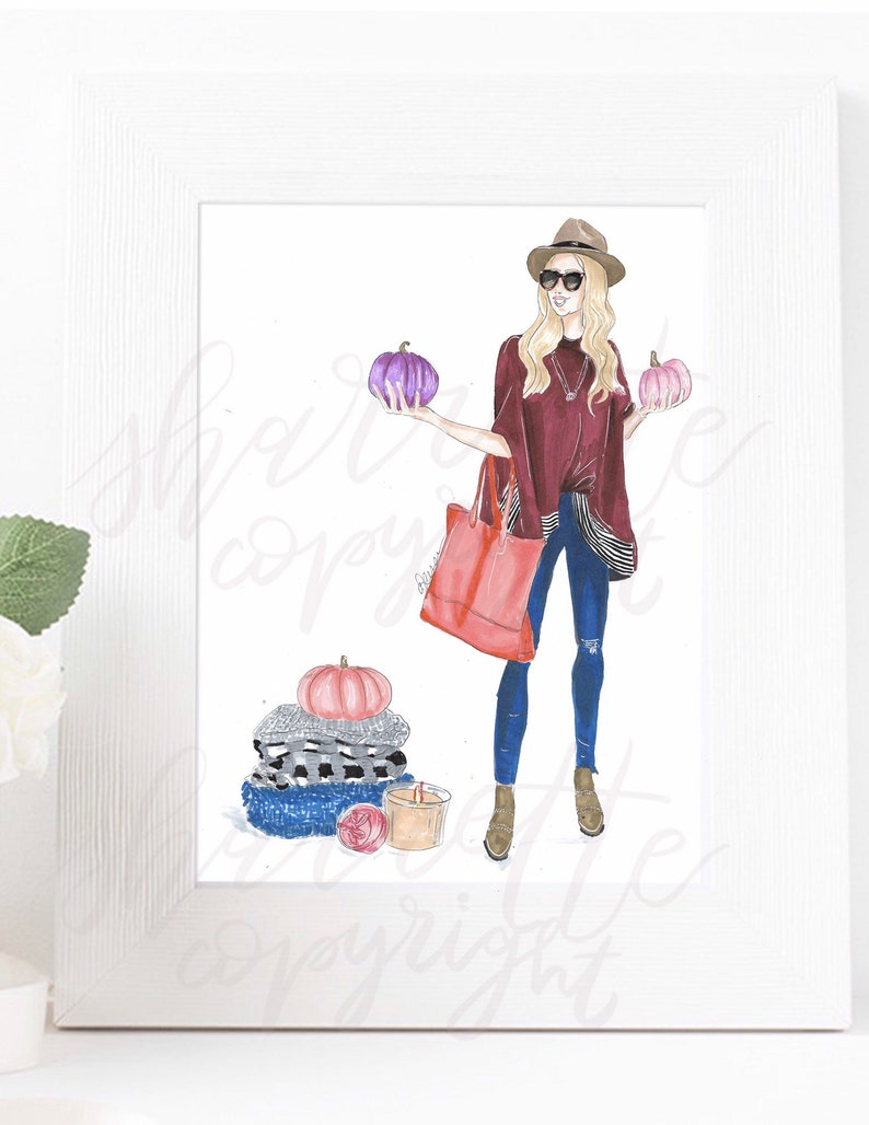 Fall Pumpkin Autumn Fashion Illustration original Print  image 0