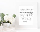 Bible Quote Art - psalms 91 art - modern calligraphy brush lettering